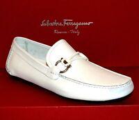 Salvatore Ferragamo Men's White Blue Toe Leather Italy Shoes  Sz 11 EE US 12