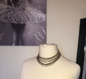 Vintage Gold Silver Tone Multi Strand Rope Chains Statement Necklace (1m)
