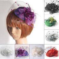 Women's Vintage Flower Mesh Net Fascinator Hair Clip Hat Party Wedding Headwear