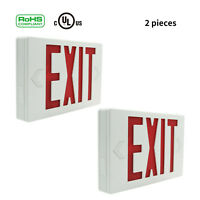 2PCS LED Emergency Light Universal Red Exit Sign Battery Backup Lighting Fixture