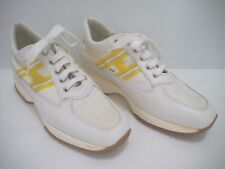 HOGAN Interactive white yellow leather canvas sneakers shoes 38.5 WORN ONCE