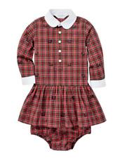 Ralph LAUREN Bebé Niña Vestido de popelín de algodón tela escocesa's & BLOOMERS Set