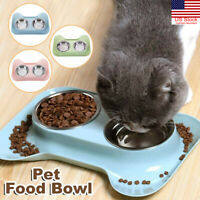 Pet Food Double Bowl Dog-Cat Water Stainless Steel Dish Puppy Feeder Feeding Mat