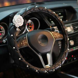 38cm White Camellia Flower Diamond Car Black Leather Steering Wheel Cover Lady