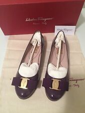Authentic Salvatore Ferragamo Varina Ballet Flats 6B NIB Mirtillo