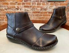 Clarks Dark Brown Leather Ankle Boots Ashland Pine New Button Strap Detail