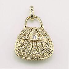 14k Yellow Gold & Diamond Purse/Bag Pendant