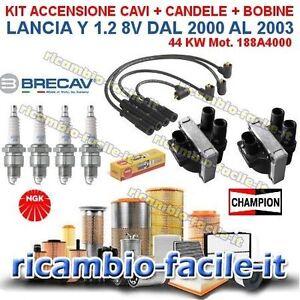 KIT ACCENSIONE CAVI CANDELE BOBINE LANCIA Y 1.2 1200 BENZINA 8V 00>03 188A4000