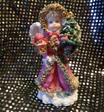 Glittery Christmas Angel Figurine With Beautiful Wings And Pink Overcoat