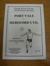 22/12/1986 Port Vale V Hereford unida [Freight Rover trofeo] (cuatro páginas, los pequeños
