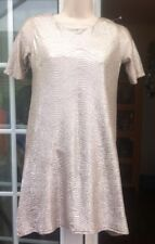 BNWT - RIVER ISLAND 70's GLAM GOLD CRINKLED OUTER SHORT DRESS - SIZE 8
