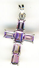 """925 Sterling Silver Amethyst Cubic Zirconia Cross Pendant Overall Lgth 1.1/4"""""""