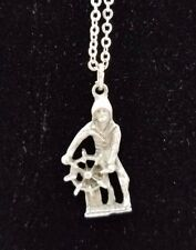 Old Man of the Sea Pewter Silver Curb Link Chain Necklace Pendant Charm Souvenir