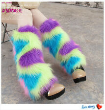 FLUFFY FURRY Rainbow Rave Leg Warmers Boot Cover Fancy Dress XMAS Costume