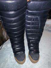 H&M Studio 2015 Collection Premium Dark Blue Quilted Leather Boots Sz 37