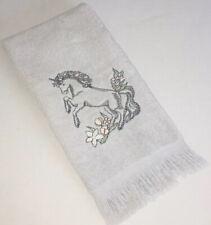 Vintage 1980's Unicorn Fingertip Towel Gray The Bathworks Bathroom Embroidered