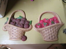 Burwood Products Fruit Baskets  Set Of 2 Wall Plaques 1985