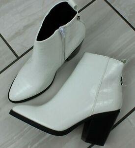 Womens White Mid Block Heel Chelsea Ankle Zip Up Cowboy Biker Wester Boots Shoes