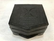 "Vintage Leather & Wood Jewelry Box with Mirror, 6"" High x 9"" Wide x 9"" Deep"