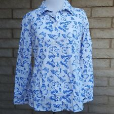 Gap Fitted Boyfriend Small Blue Butterfly Print One Pocket Button Down Top Shirt