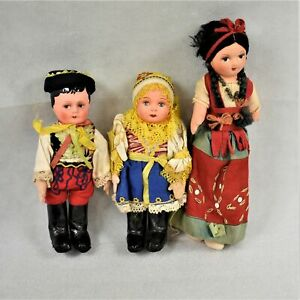 Set of Three Dolls Made in Argentina in Original Clothes Preowned
