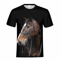 Mens Teens T-shirt Double Sides Print Horse Black Tee Casual Shirt Crew Neck Top