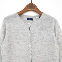 GANT Light Grey Alpaca Blend Crew Neck Cardigan Sweater Jumper Pullover Size S
