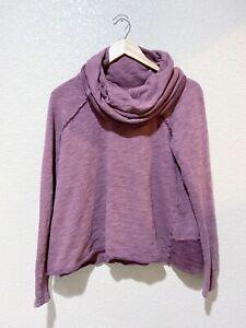 FREE PEOPLE BEACH Purple Cowl Neck Hoodie One Size Women's