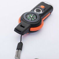 New 7 in 1 Emergency Survival Camping Hiking Whistle Compass Thermometer LED