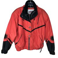 Vintage 80's Womens Odermeyer Ski Jacket 81611 w Back and Arm Patches Red Coral