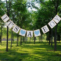 Kraft Paper Baby Shower Banner Garlands Decoration Its A Boy Girl Bunting Supply