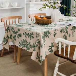 Rectangle Cotton Linen Tassel Tablecloth Print Kitchen Dining Table Cloth Covers