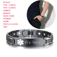 Men Medical Alert ID Health Magnetic Therapy Bracelet Healing Arthritis Relief