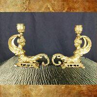 Paire de Chandeliers Déesse Niké en Bronze Doré 19ème Siècle