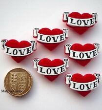 RED LOVE HEARTS Plush Craft Buttons 1ST CLASS POST Valentine Tattoo Felt Pirate