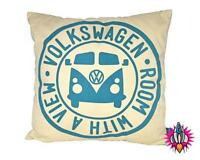 VW VOLKSWAGEN CAMPER VAN ROOM WITH A VIEW RETRO CUSHION PILLOW