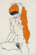 Egon Schiele Reproductions:  Nude with Orange Cloth - Fine Art Print
