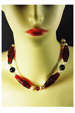 "Vintage 26"" Necklace With Raspberry Inflated Plastic And Black Beads."