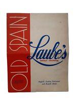 1946 LAUBE'S Old Spain Restaurant Vintage Menu Buffalo & Rochester New York