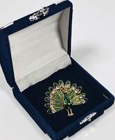 Vintage Brooch Gold Tone Enamel & Diamante Peacock Sparkly Pretty Costume
