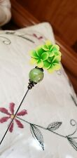 Victorian Hat Pin Vintage Inspired Green & Yellow Flowers Antique Bronze