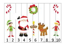 Christmas themed 1-10 Number Sequence Puzzle and Game Board.  Laminated learning