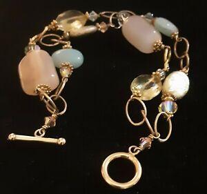 14k Gold Filled Multi Stone 2 Strand Toggle Bracelet    #FS24