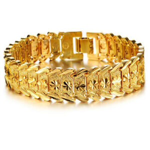"Men's Fashion 18k Yellow Gold Plated Bracelet Carving Wrist Link Bangle 8.26"""