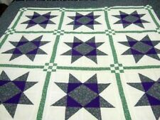 Vintage Bright Machine Stitched Variable Star Quilt Top