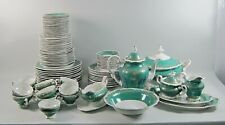 97pc Lot Weimer China Katharina 6131-Green Dinnerware & Serving Pieces Svc/12