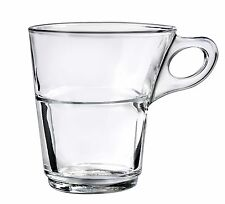 Duralex - Caprice Clear Stackable Glass Coffee Cup 220 ml. ( 7 3/4 oz. ) Set of