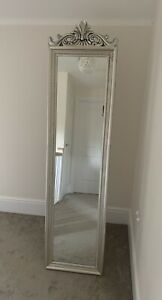 Full Length Free Standing Cheval French Style Vintage Silver Mirror