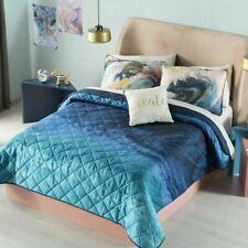 WATERCOLORS Comforter Reversible Blue Bedding Bedroom Beach TEENS 4PC FULL SIZE