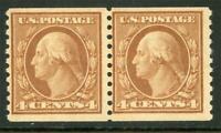 USA 1908 Washington 4¢ Pair Perf 10 Vertical Coil Unwmk Scott 495 MNH Z785